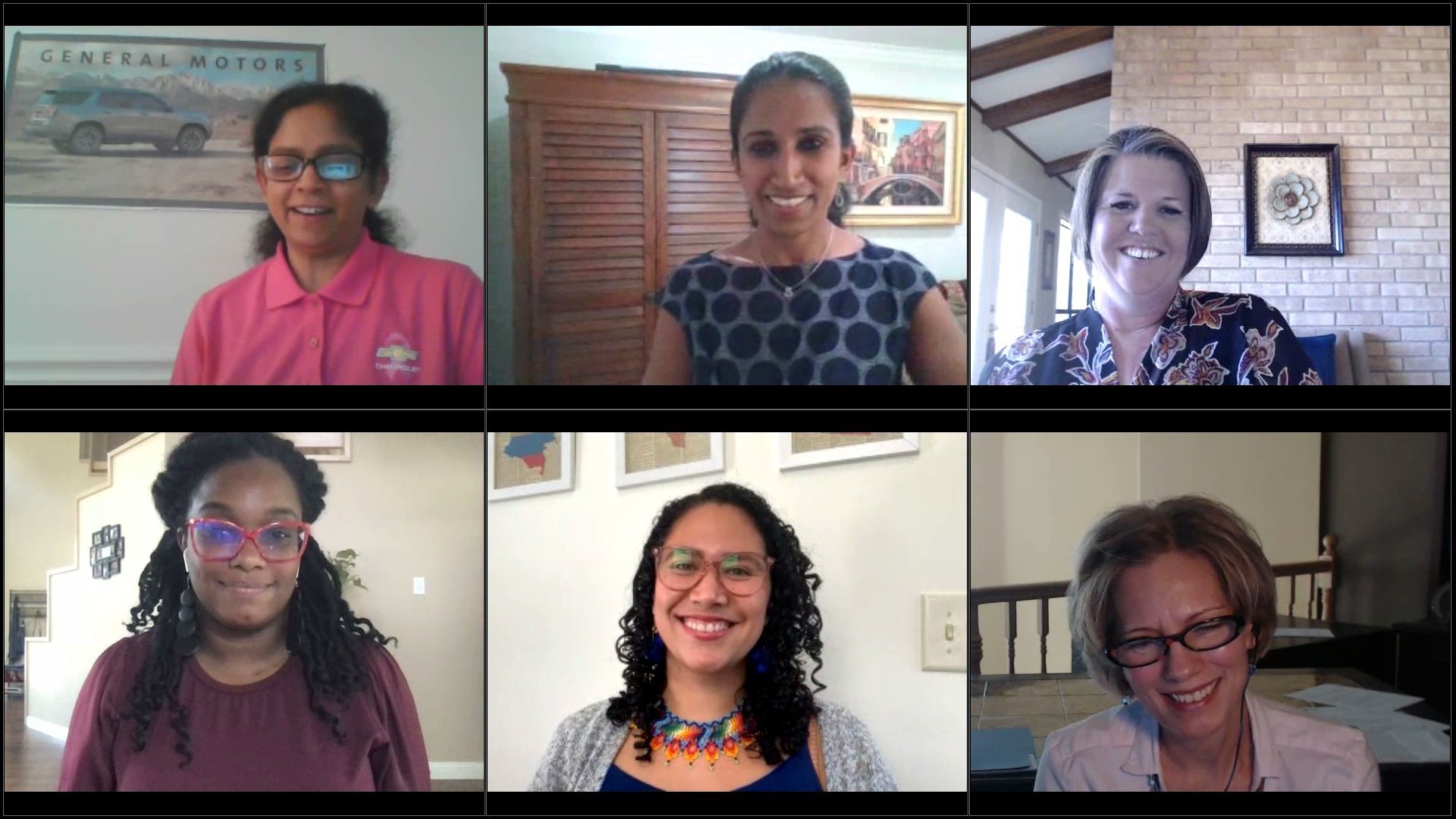Clockwise from top left: Anbu Subramaniyan, Sabari Raja, Andi McNair, Jennifer Harrison (moderator), Ana Porras, Nicole Jackson.